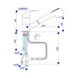 Slavina za sudoper J385003 sa tri cevi