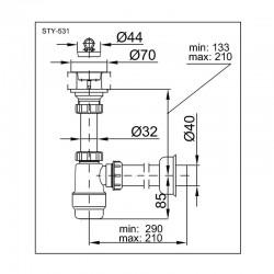 Sifon za lavabo ABS Styron STY-531