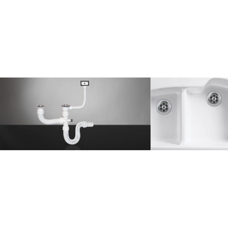 Sifon za sudoperu dvodelni elastični sa prelivom